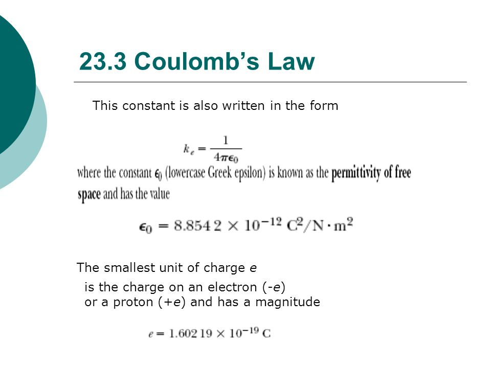 23.3 Coulomb's Law This constant is also written in the form