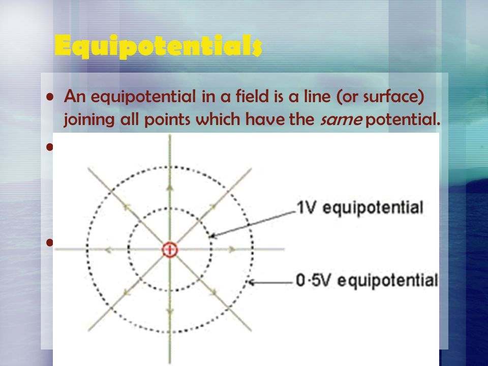 Equipotentials An equipotential in a field is a line (or surface) joining all points which have the same potential.