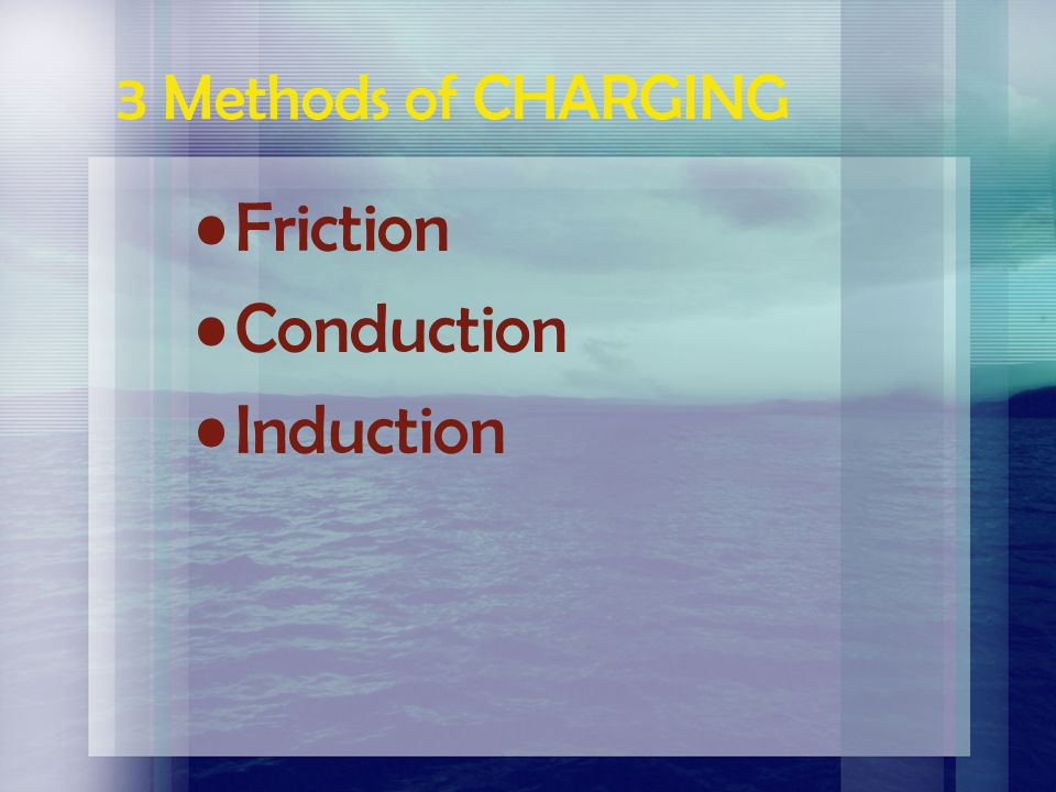 3 Methods of CHARGING Friction Conduction Induction