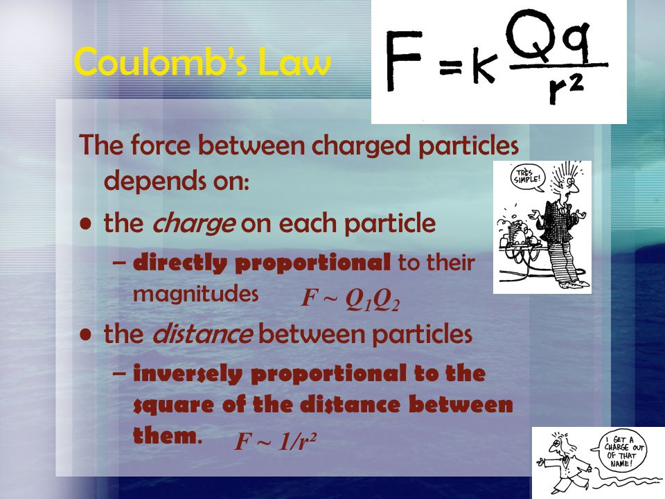 Coulomb's Law The force between charged particles depends on: