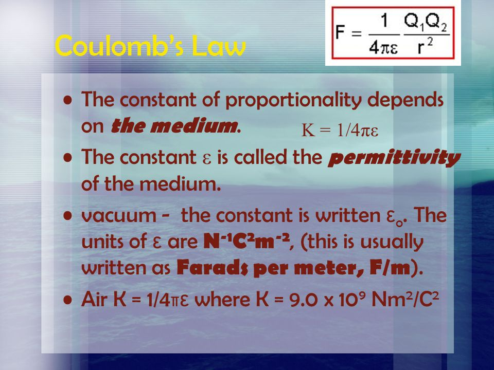 Coulomb's Law The constant of proportionality depends on the medium.