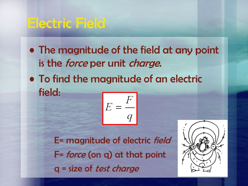 Electric Field The magnitude of the field at any point is the force per unit charge. To find the magnitude of an electric field: