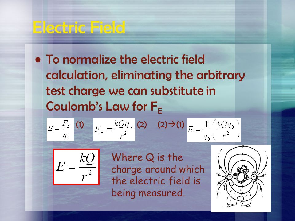 Electric Field To normalize the electric field calculation, eliminating the arbitrary test charge we can substitute in Coulomb's Law for FE.