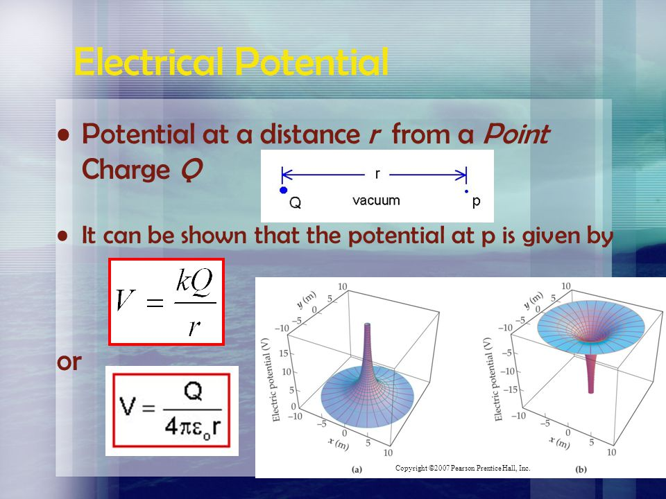 Electrical Potential Potential at a distance r from a Point Charge Q
