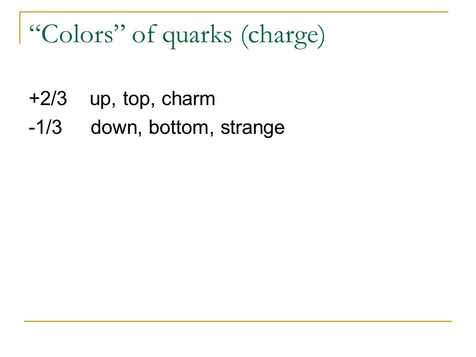Colors of quarks (charge)