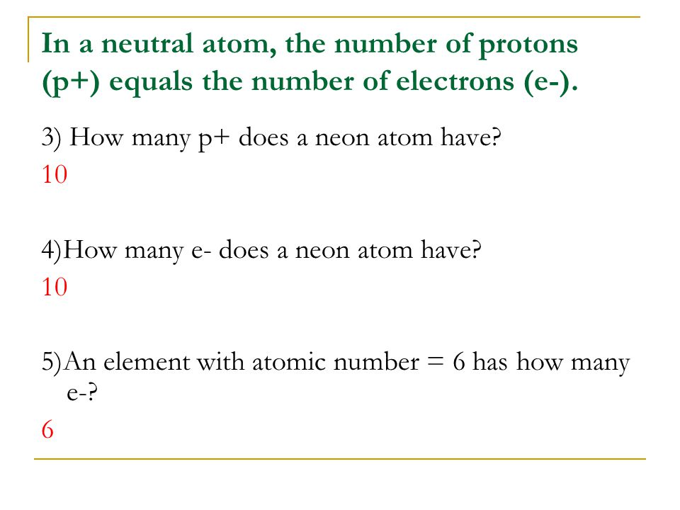 In a neutral atom, the number of protons (p+) equals the number of electrons (e-).