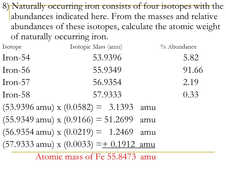 8) Naturally occurring iron consists of four isotopes with the abundances indicated here. From the masses and relative abundances of these isotopes, calculate the atomic weight of naturally occurring iron.