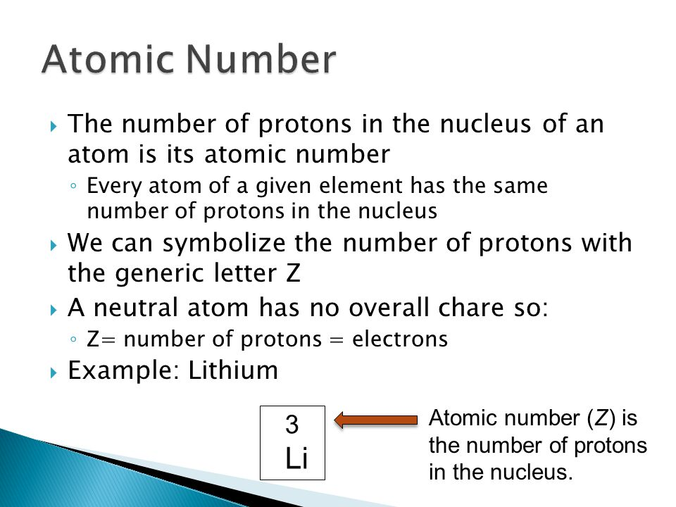 Atomic Number The number of protons in the nucleus of an atom is its atomic number.