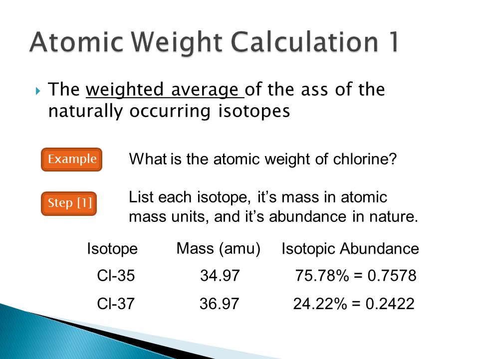 Atomic Weight Calculation 1