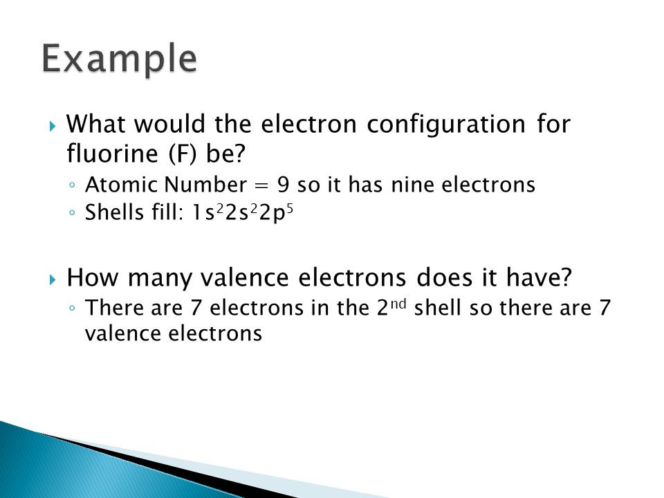 Example What would the electron configuration for fluorine (F) be