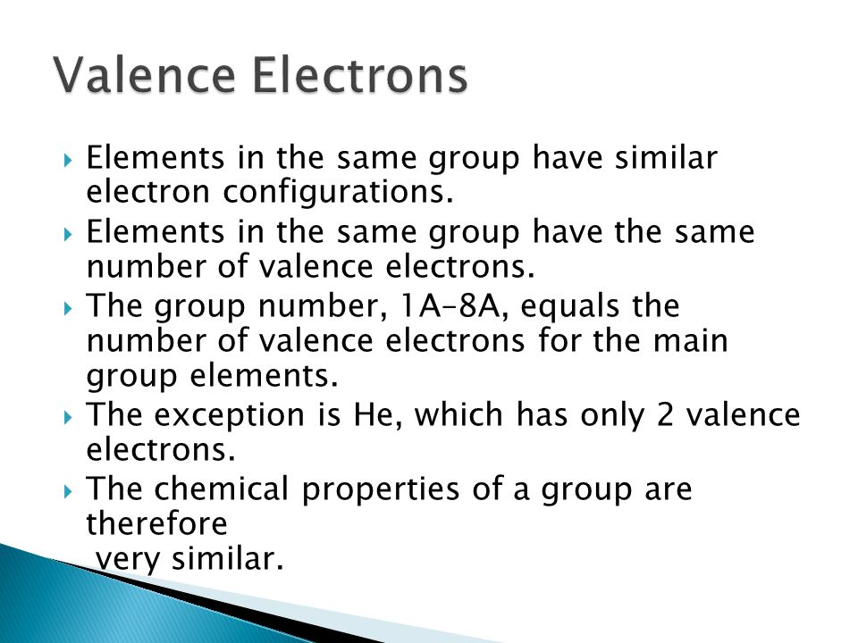 Valence Electrons Elements in the same group have similar electron configurations.