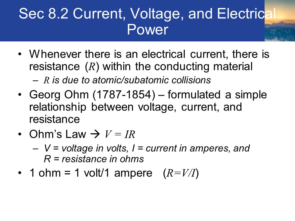Sec 8.2 Current, Voltage, and Electrical Power