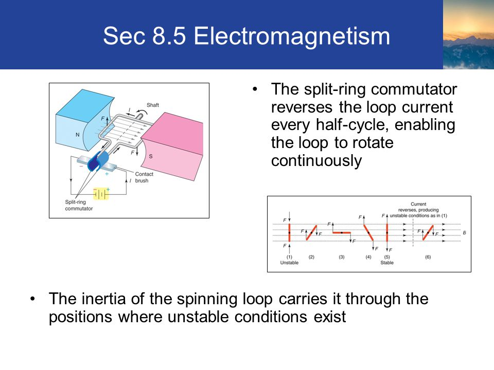 Sec 8.5 Electromagnetism The split-ring commutator reverses the loop current every half-cycle, enabling the loop to rotate continuously.