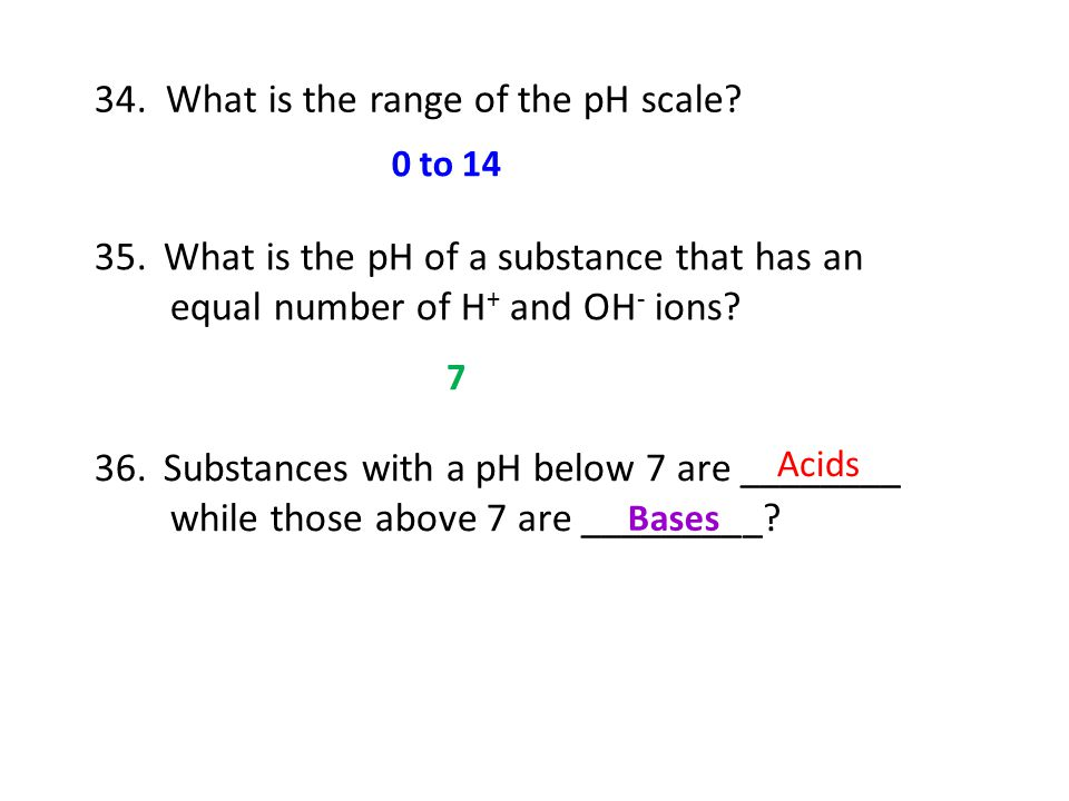 34. What is the range of the pH scale