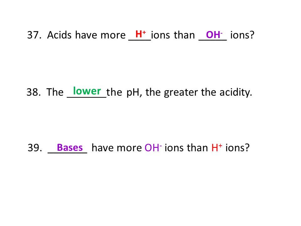 37. Acids have more ____ions than _____ ions