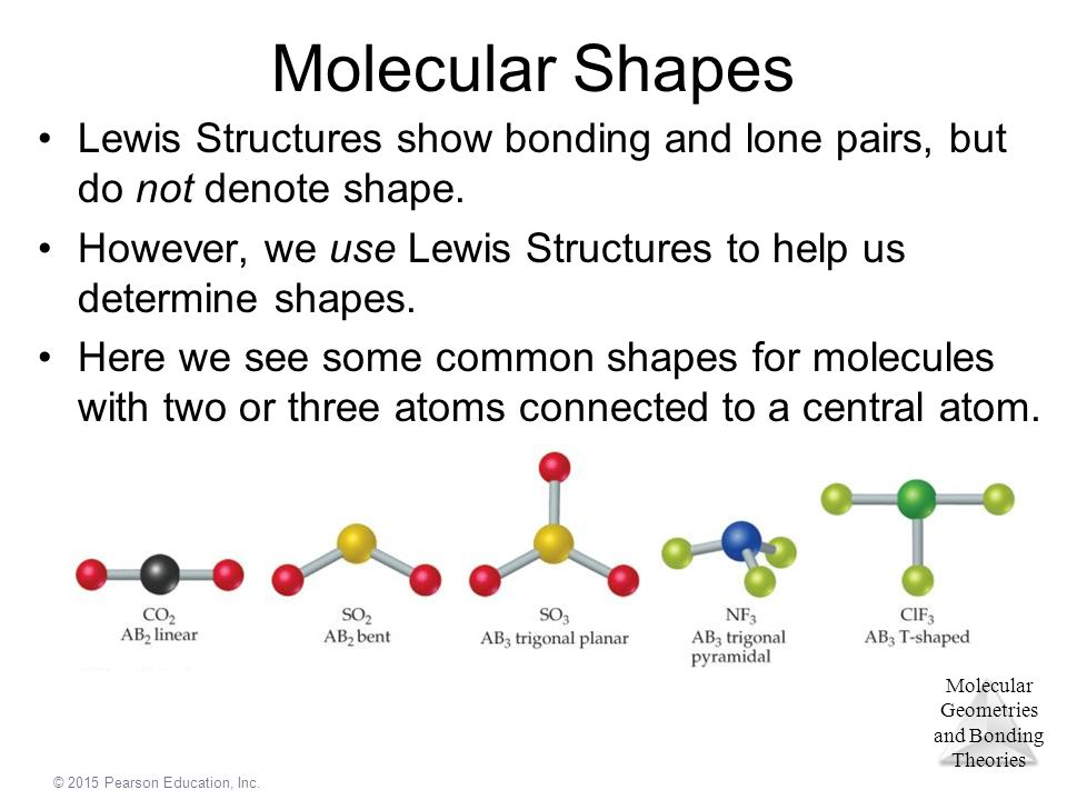 Molecular Shapes Lewis Structures show bonding and lone pairs, but do not denote shape.