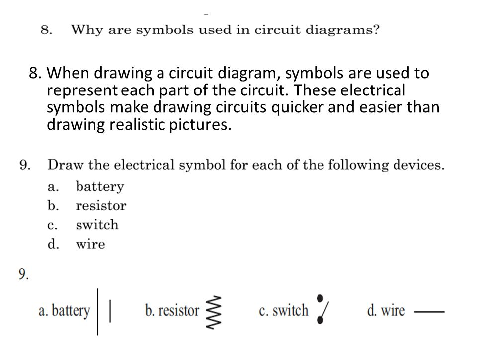 8. When drawing a circuit diagram, symbols are used to represent each part of the circuit.