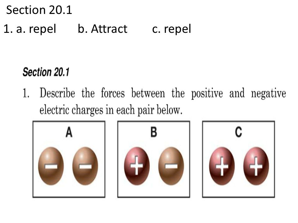 Section 20.1 1. a. repel b. Attract c. repel