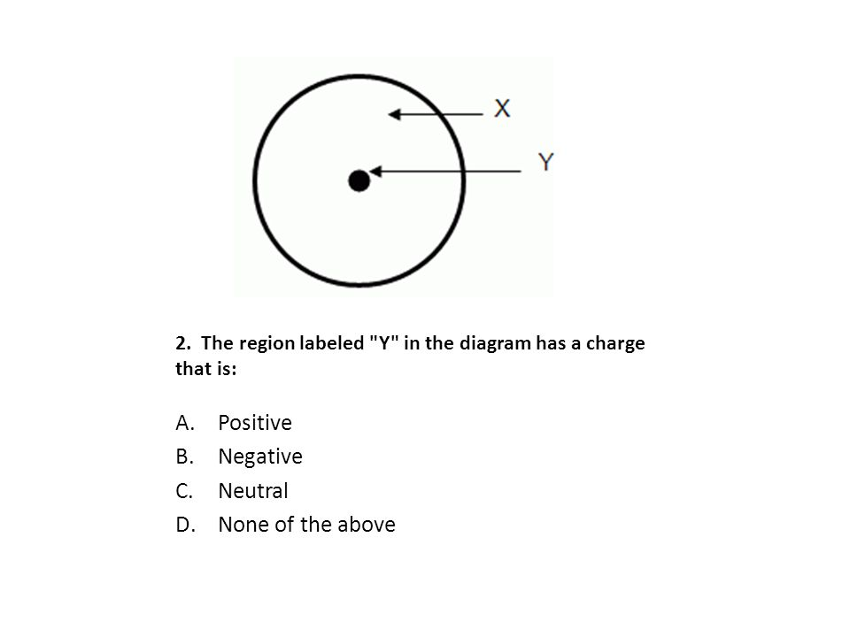 2. The region labeled Y in the diagram has a charge that is: