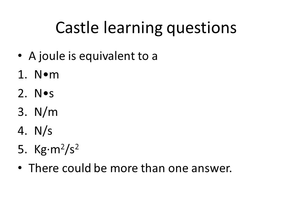 Castle learning questions