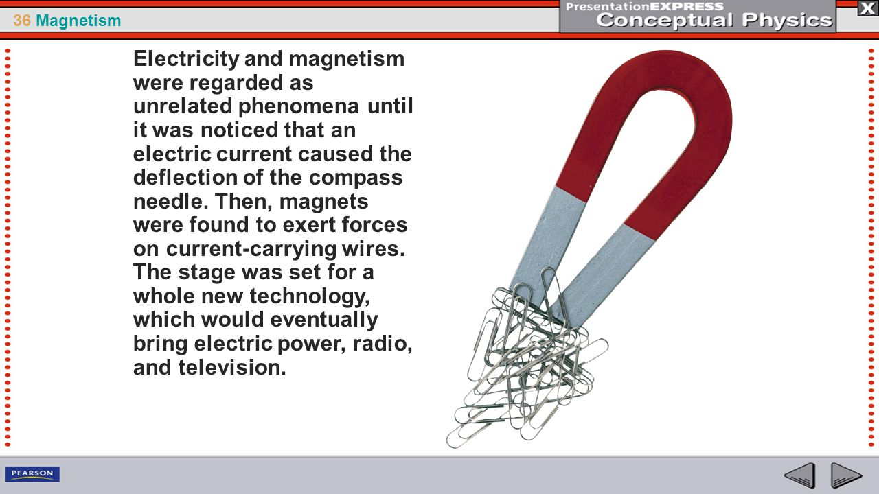 Electricity and magnetism were regarded as unrelated phenomena until it was noticed that an electric current caused the deflection of the compass needle.