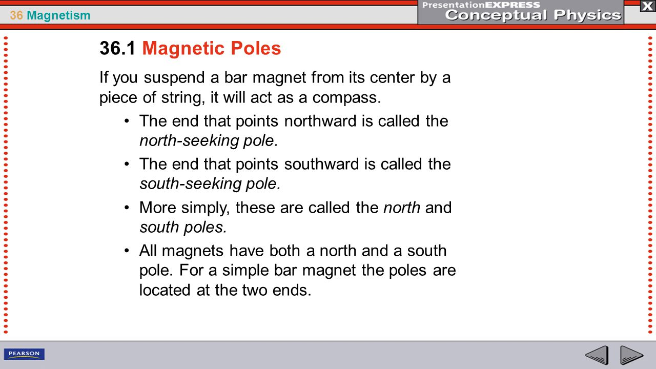 36.1 Magnetic Poles If you suspend a bar magnet from its center by a piece of string, it will act as a compass.