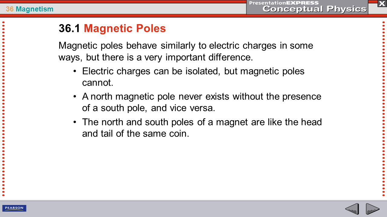 36.1 Magnetic Poles Magnetic poles behave similarly to electric charges in some ways, but there is a very important difference.