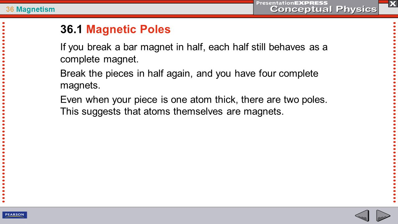 36.1 Magnetic Poles If you break a bar magnet in half, each half still behaves as a complete magnet.