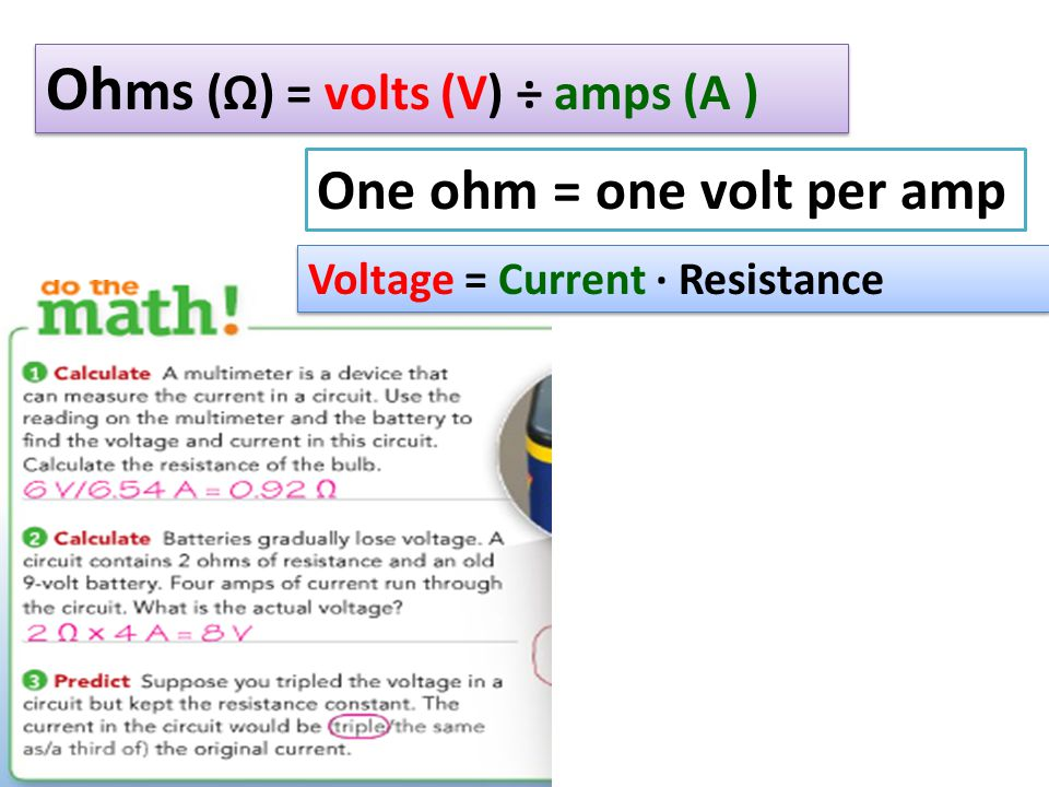 Ohms (Ω) = volts (V) ÷ amps (A )