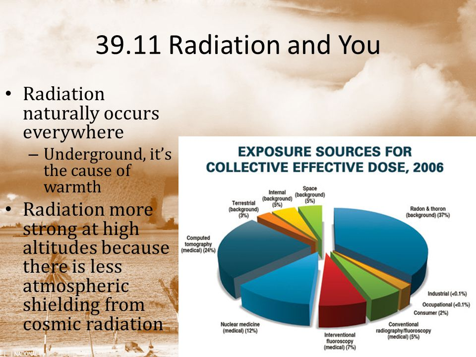 39.11 Radiation and You Radiation naturally occurs everywhere