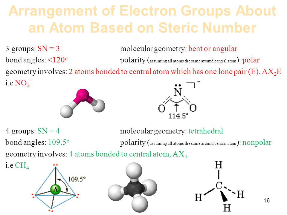 Arrangement of Electron Groups About an Atom Based on Steric Number