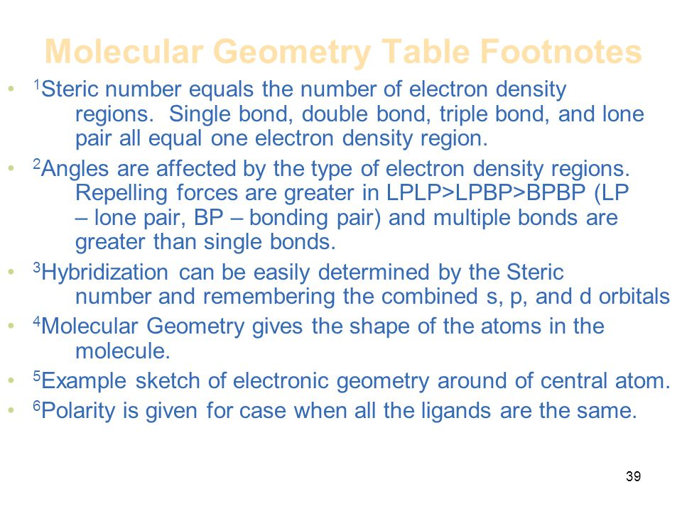 Molecular Geometry Table Footnotes