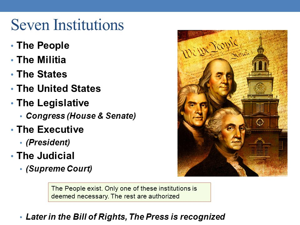 Seven Institutions The People The Militia The States The United States
