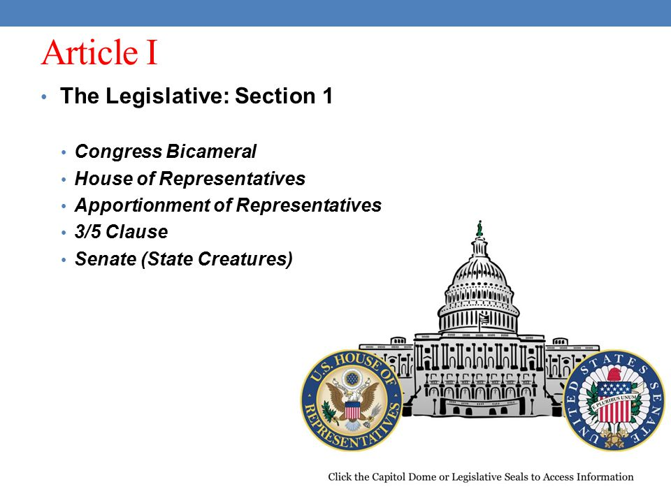 Article I The Legislative: Section 1 Congress Bicameral
