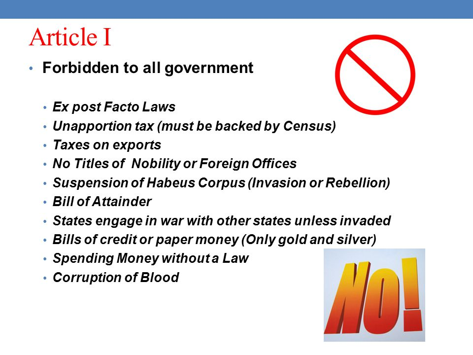 Article I Forbidden to all government Ex post Facto Laws