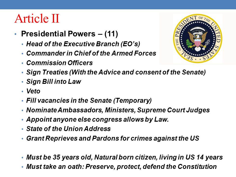 Article II Presidential Powers – (11)