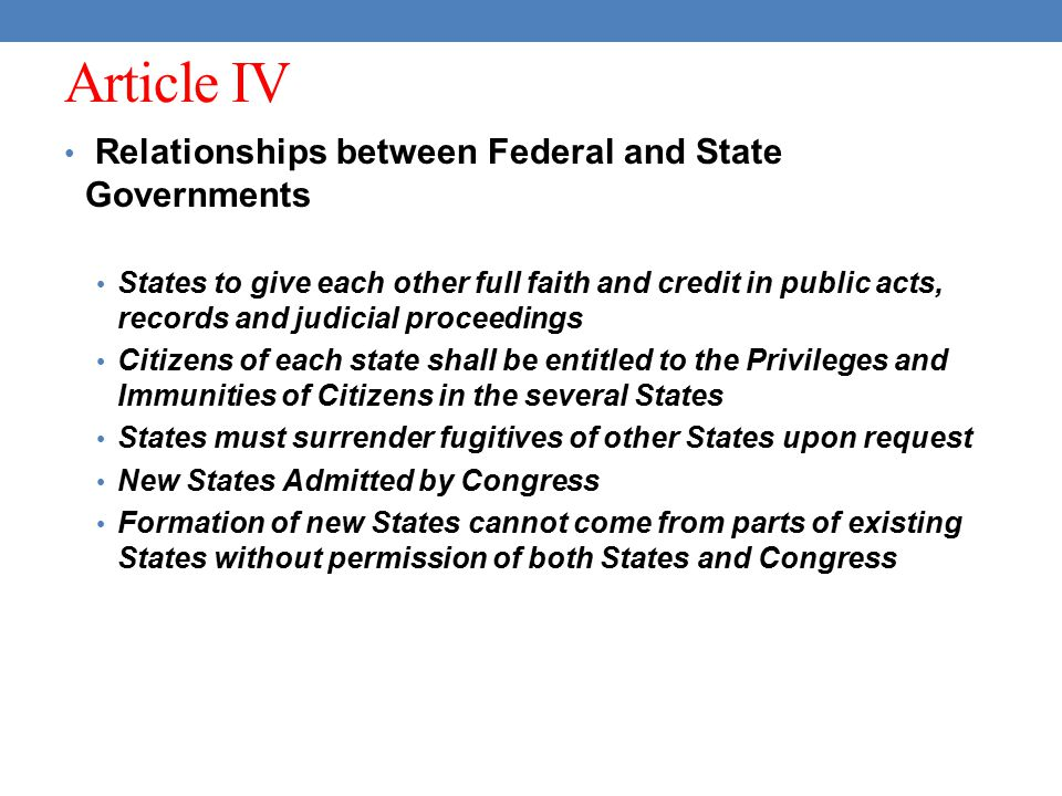 Article IV Relationships between Federal and State Governments