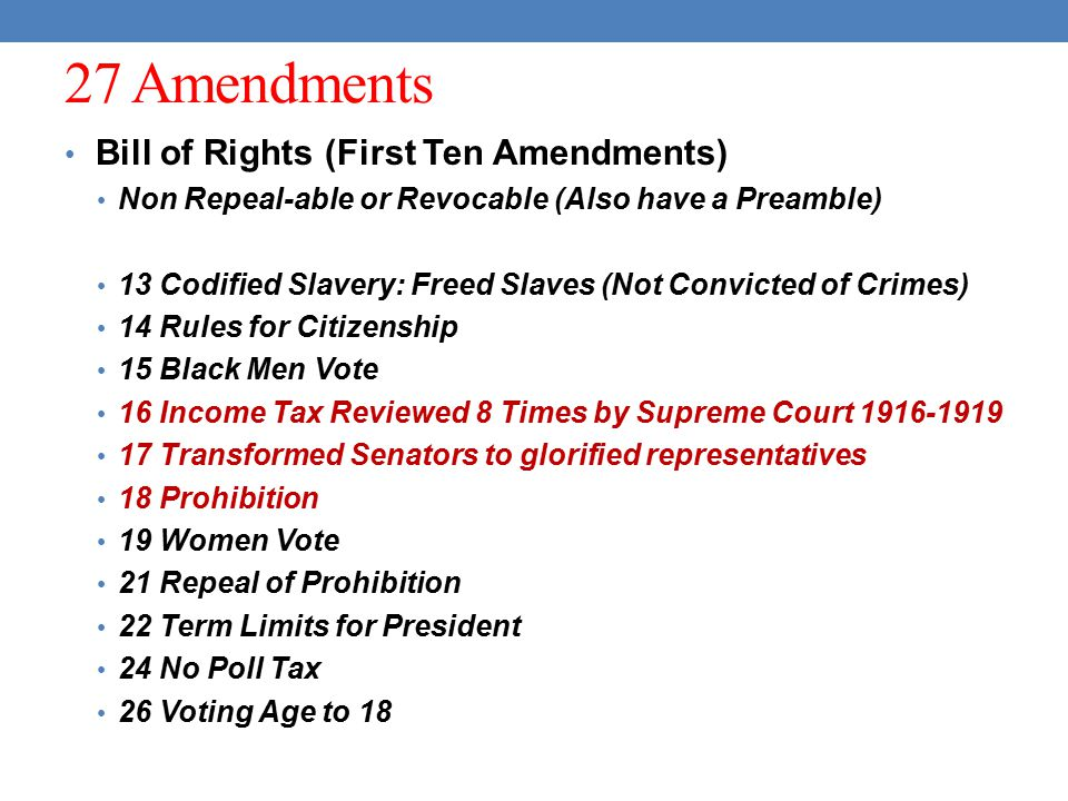 27 Amendments Bill of Rights (First Ten Amendments)
