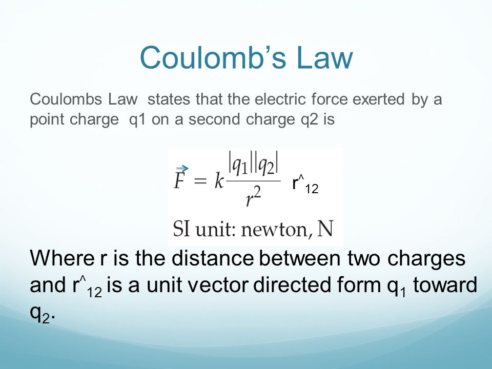 Coulomb's Law Coulombs Law states that the electric force exerted by a point charge q1 on a second charge q2 is.