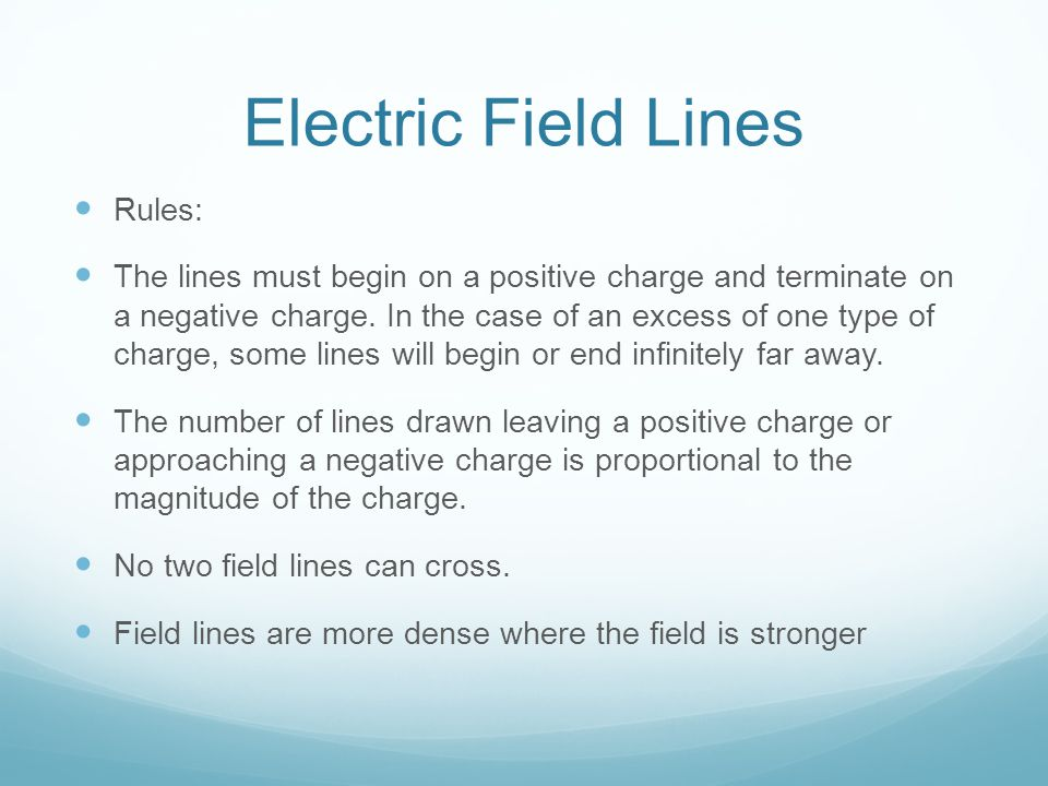 Electric Field Lines Rules: