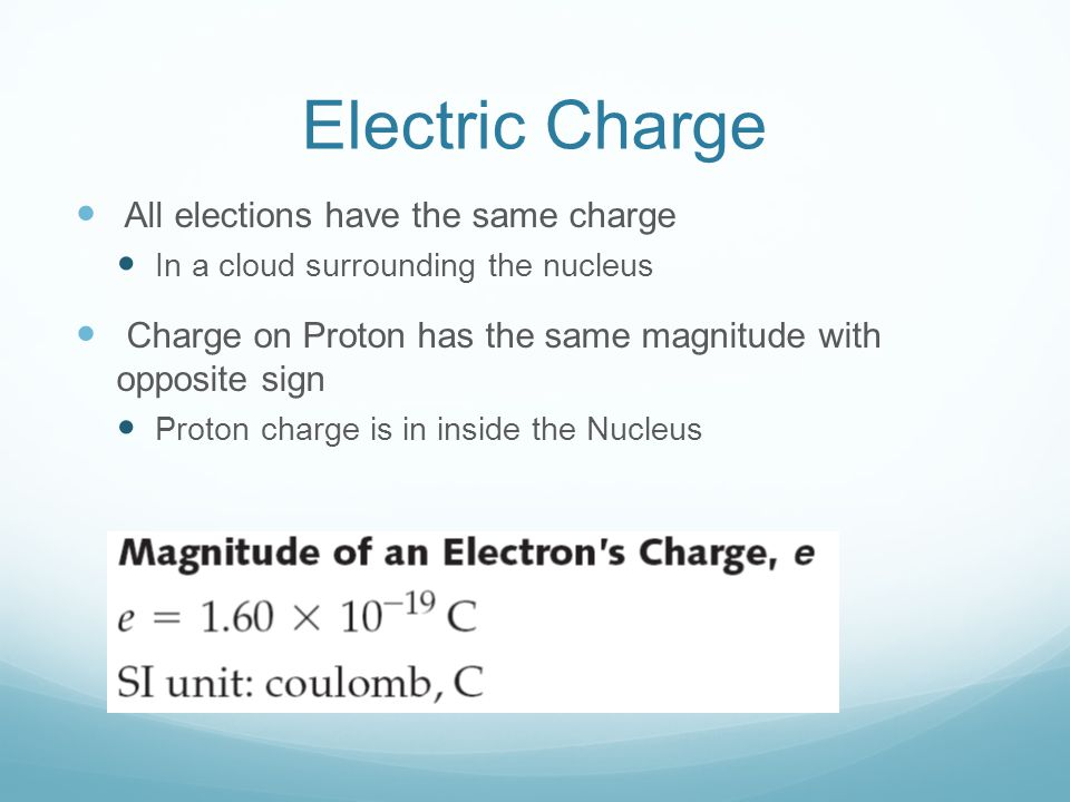 Electric Charge All elections have the same charge