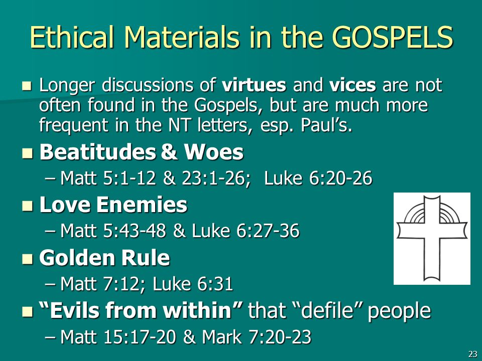 Ethical Materials in the GOSPELS