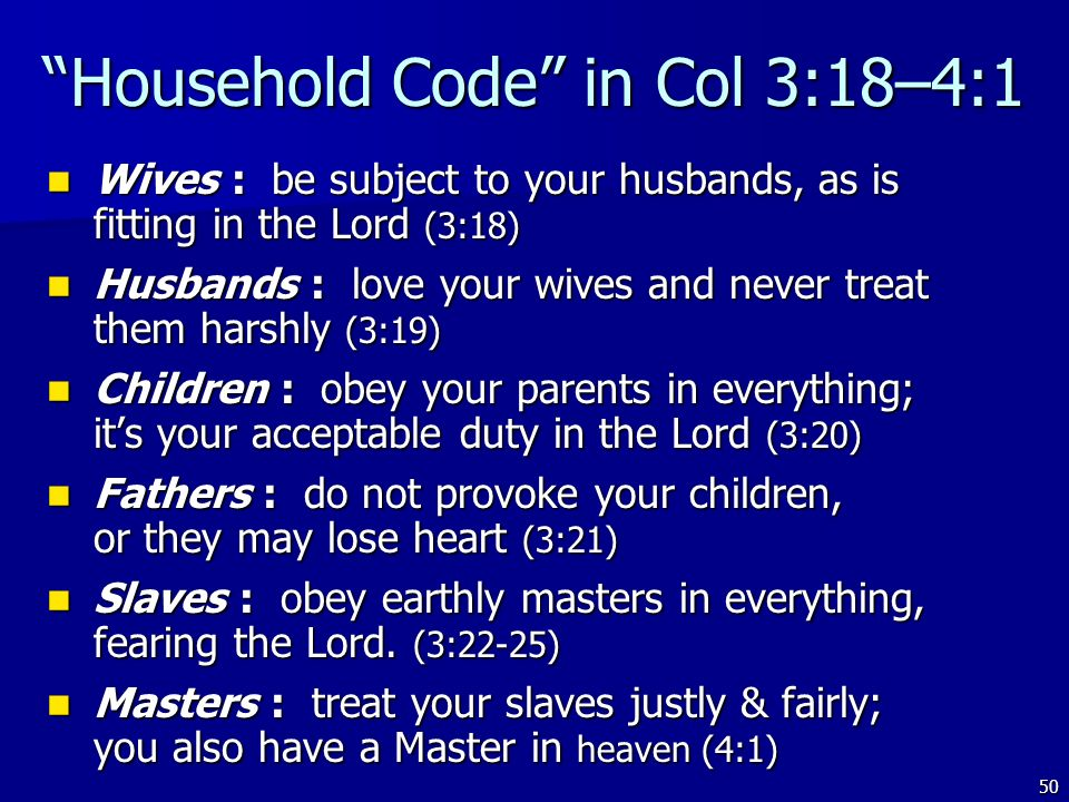 Household Code in Col 3:18–4:1