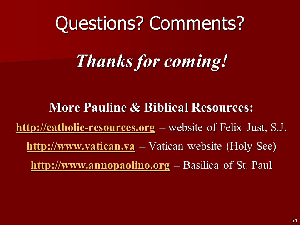 More Pauline & Biblical Resources:
