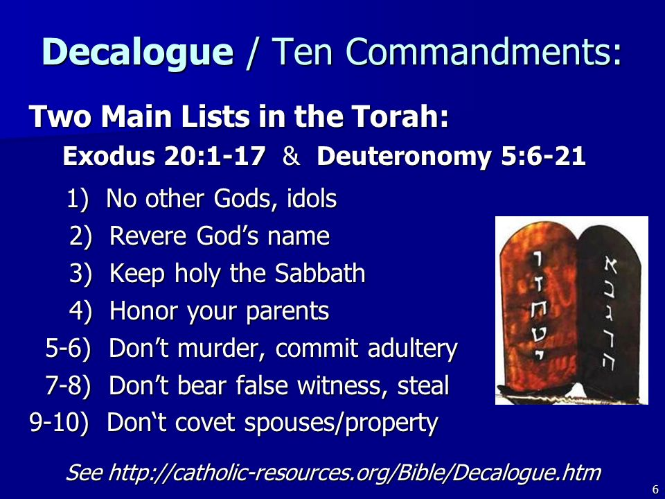 Decalogue / Ten Commandments: