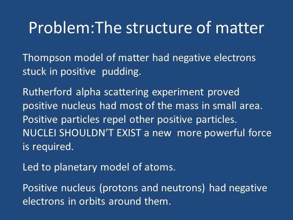 Problem:The structure of matter