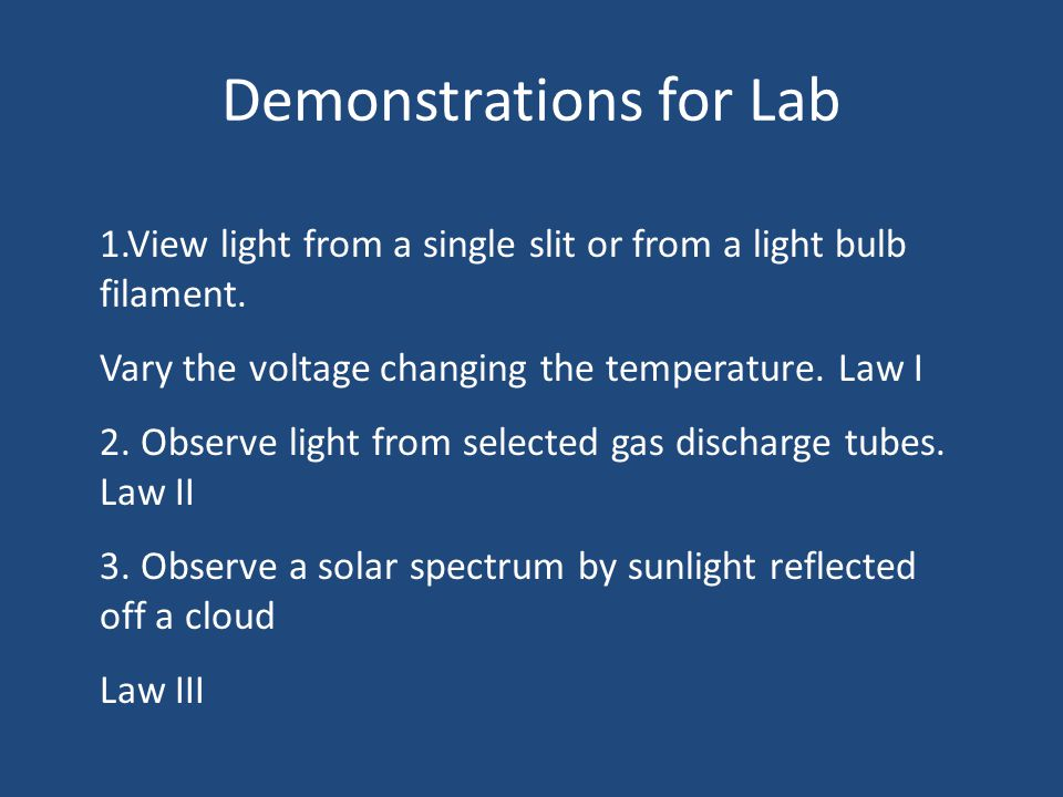 Demonstrations for Lab