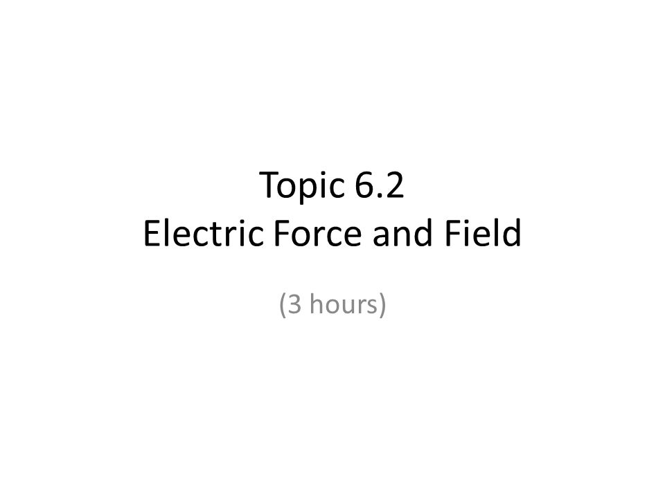 Topic 6.2 Electric Force and Field