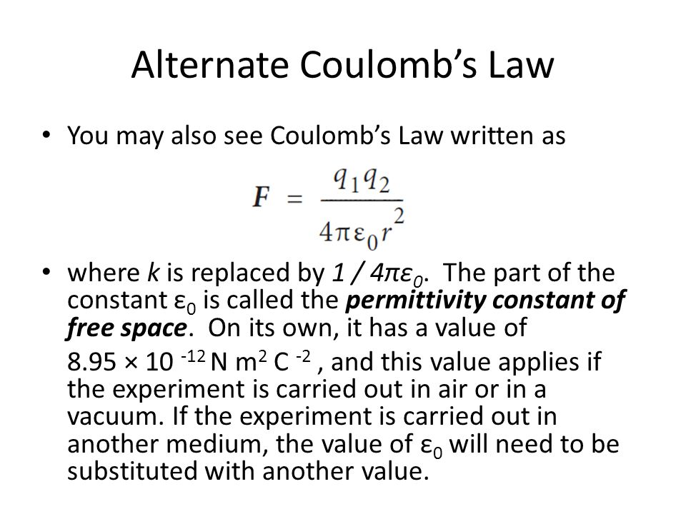 Alternate Coulomb's Law