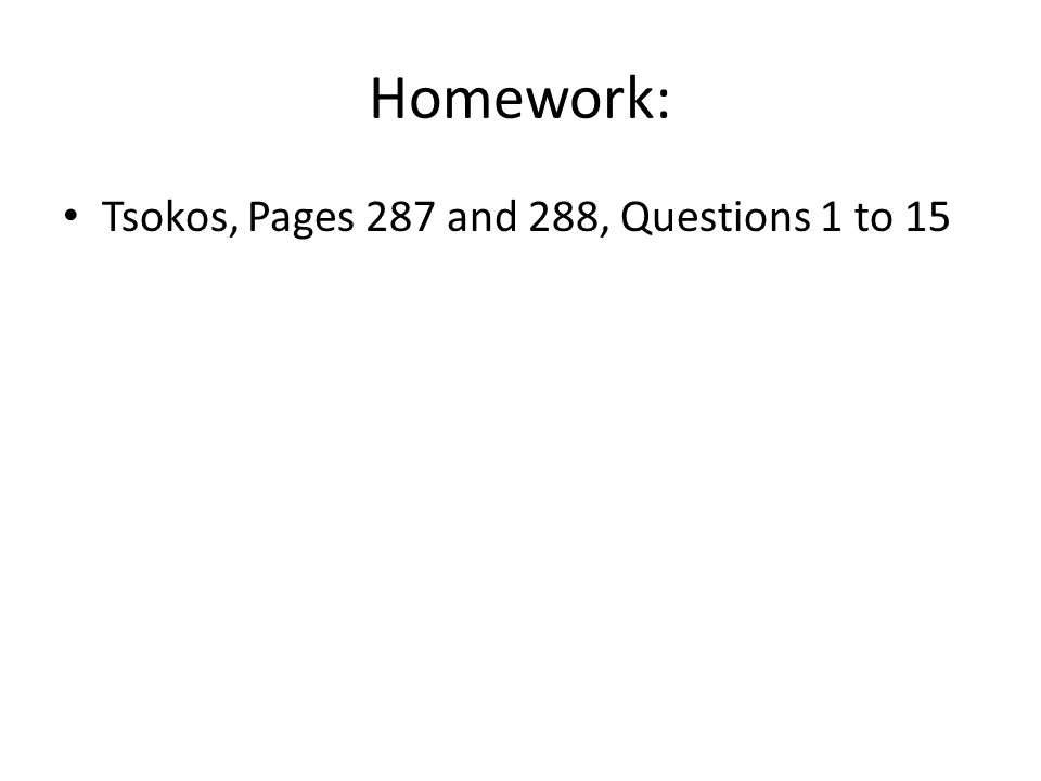 Homework: Tsokos, Pages 287 and 288, Questions 1 to 15